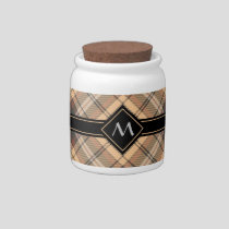 Beige and Brown Tartan Candy Jar