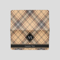Beige and Brown Tartan Checkbook Cover