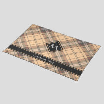 Beige and Brown Tartan Cloth Placemat