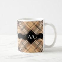 Beige and Brown Tartan Coffee Mug