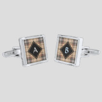 Beige and Brown Tartan Cufflinks