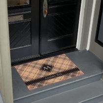 Beige and Brown Tartan Doormat