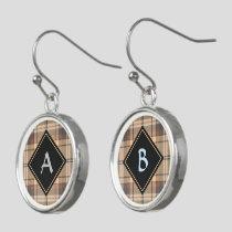 Beige and Brown Tartan Earrings