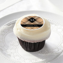 Beige and Brown Tartan Edible Frosting Rounds