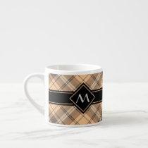 Beige and Brown Tartan Espresso Cup
