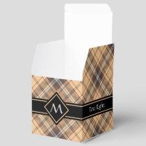 Beige and Brown Tartan Favor Box
