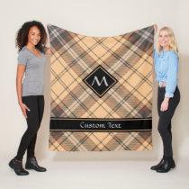 Beige and Brown Tartan Fleece Blanket