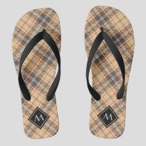 Beige and Brown Tartan Flip Flops