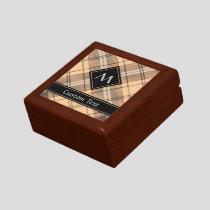 Beige and Brown Tartan Gift Box