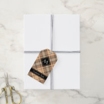 Beige and Brown Tartan Gift Tags