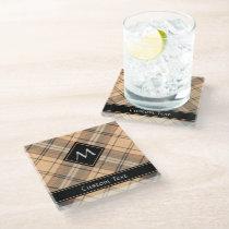 Beige and Brown Tartan Glass Coaster