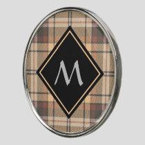 Beige and Brown Tartan Golf Ball Marker