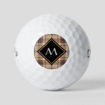 Beige and Brown Tartan Golf Balls