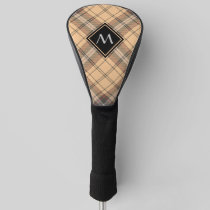 Beige and Brown Tartan Golf Head Cover