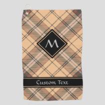 Beige and Brown Tartan Golf Towel