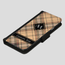 Beige and Brown Tartan iPhone 8/7 Wallet Case