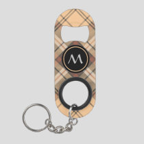 Beige and Brown Tartan Keychain Bottle Opener