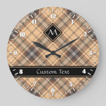 Beige and Brown Tartan Large Clock