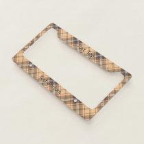 Beige and Brown Tartan License Plate Frame