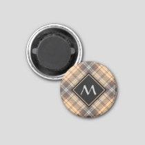 Beige and Brown Tartan Magnet
