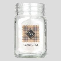 Beige and Brown Tartan Mason Jar