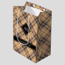 Beige and Brown Tartan Medium Gift Bag