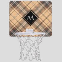 Beige and Brown Tartan Mini Basketball Hoop