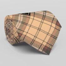 Beige and Brown Tartan Neck Tie