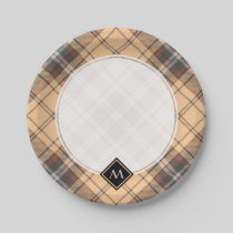 Beige and Brown Tartan Paper Plate