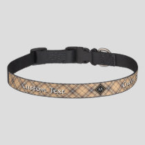 Beige and Brown Tartan Pet Collar