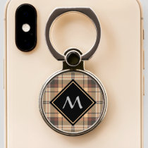 Beige and Brown Tartan Phone Ring Stand