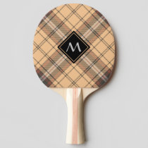 Beige and Brown Tartan Ping Pong Paddle