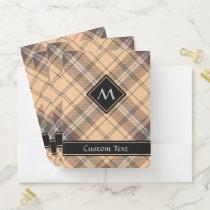 Beige and Brown Tartan Pocket Folder