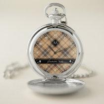 Beige and Brown Tartan Pocket Watch