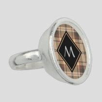 Beige and Brown Tartan Ring