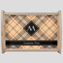Beige and Brown Tartan Serving Tray