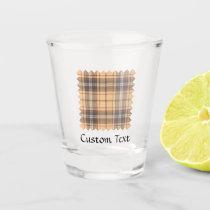 Beige and Brown Tartan Shot Glass