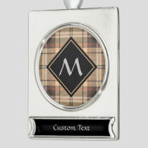 Beige and Brown Tartan Silver Plated Banner Ornament