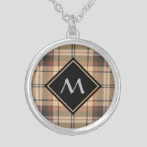 Beige and Brown Tartan Silver Plated Necklace