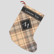 Beige and Brown Tartan Small Christmas Stocking