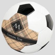 Beige and Brown Tartan Soccer Ball