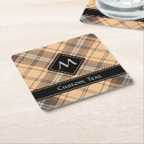 Beige and Brown Tartan Square Paper Coaster
