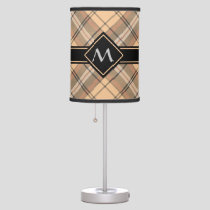 Beige and Brown Tartan Table Lamp