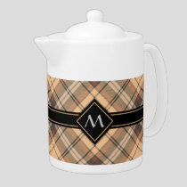 Beige and Brown Tartan Teapot