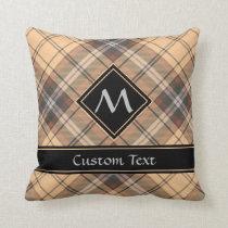 Beige and Brown Tartan Throw Pillow