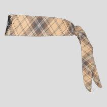 Beige and Brown Tartan Tie Headband