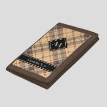 Beige and Brown Tartan Trifold Wallet