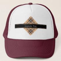 Beige and Brown Tartan Trucker Hat
