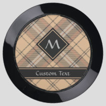 Beige and Brown Tartan USB Charging Station