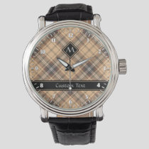 Beige and Brown Tartan Watch